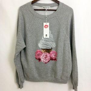 Wildfox Gray Ice Cream & Rose Sweater Small